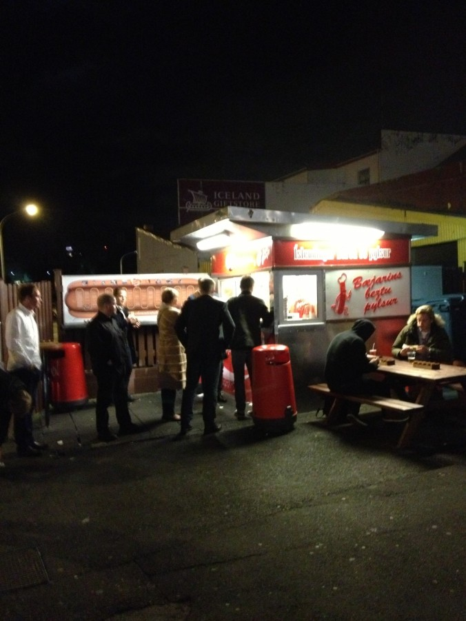 """The"" hot dog stand in Rejkhavik, Iceland 130 am"